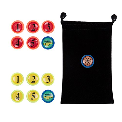 AGPTEK 13PCS Basketball Magnets, Extra Basketball Magnets for Tactic Coaching Strategy with Black Drawstring Bag