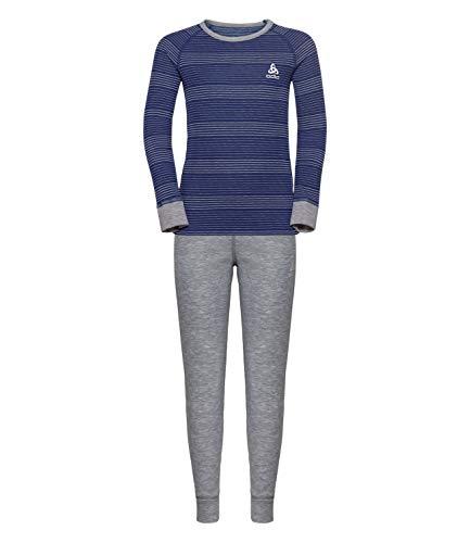 Odlo Kinder Set Active WARM Kids Bekleidungsset, Grey Melange - Clematis Blue - Stripes, 116