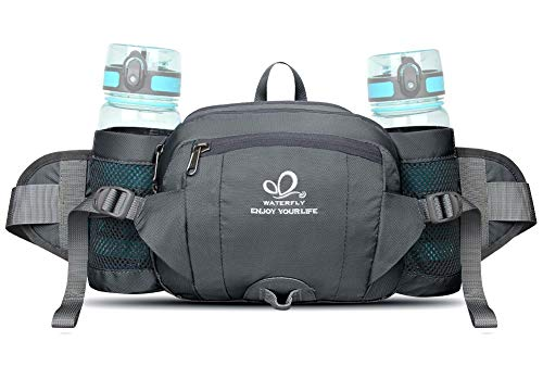 WATERFLY Fanny Pack with Water Bottle Holder Hiking Waist Packs for Walking Running Lumbar Pack fit for iPhone iPod Samsung Phones (Bottle Not Included)