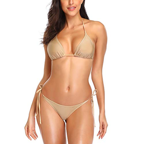 SHERRYLO 10 Solid Color Women's Thong Bikini Set String Bademode for S-XL Body (Gold)
