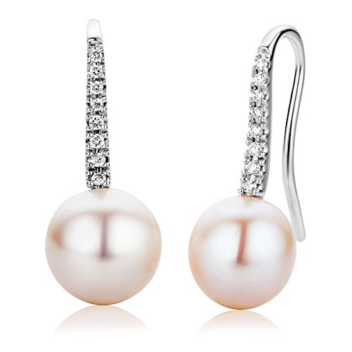 Miore Orecchini Donna Pendenti Perle di fiume Diamanti taglio Brillante ct 0.12 Oro Bianco 18 Kt / 750