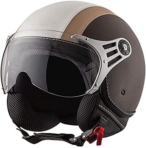 Casco de moto Street Jet Half - Casco de cara abierta 3/4 de cuero retro estilo vintage para ciclomotor scooter con visera solar - Casco de protección contra accidentes de motocicleta para hombres y