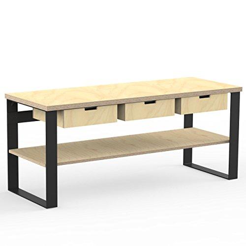 AUPROTEC Profi Design Werkbank 2000 x 750 x 850 mm Arbeitsplatte Multiplex 40mm mit 3 Schubladen und Ablage Holz Werkbankplatte Multiplexplatte Industriequalität Massiv Arbeitstisch
