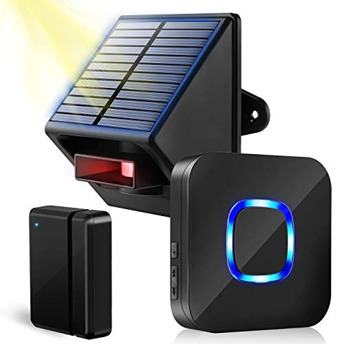 Solar Driveway Alarm Door Chime - Wireless Door Sensor Outdoor Driveway Alarm System, Motion Sensor & Detector with 650ft Range, Powered by Waterproof Solar PIR Motion Sensor for Home/Off