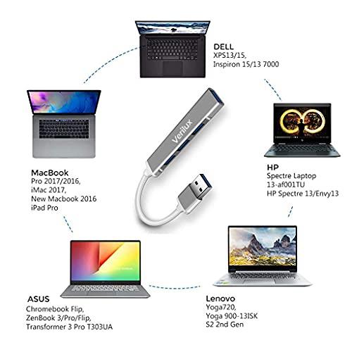 Verilux® USB Hub 3.0 for PC, 4-Port High Speed USB Hub with Aluminium Shell, USB Port Hub 3.0 Compatible for PC, MacBook, Mac Pro, Mac Mini, iMac, Surface Pro, XPS, PC, Flash Drive