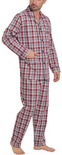 El Búho Nocturno - Herren Karierter und gestreifter Zweiteiliger Pyjama mit Langen Ärmeln | Klassische Nachtwäsche für Männer - Viyellastoffstoff, 100{4a73f53e448cedeb13a0c420f721c6da81329ae028010d9039bae4626917878e} Baumwolle - Größe L - Rot, Grau, Weiß