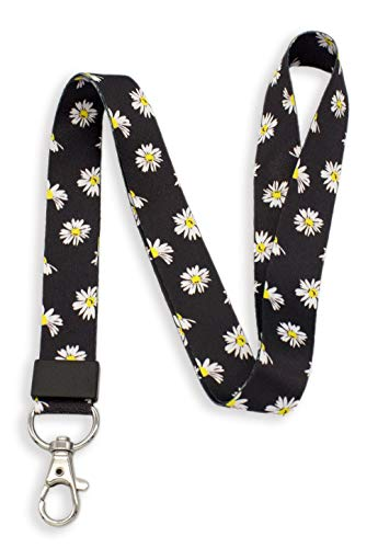 SENLLY Daisies Neck Lanyard Strap Premium Quality with Metal Clasp, for Id Badges, Card Holder, Keychain, Cell Mobile Phone, Lightweight Items etc