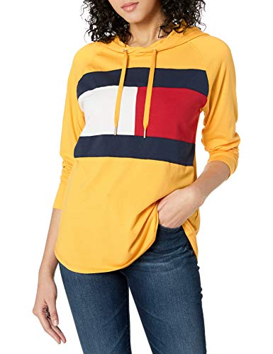 Tommy Hilfiger Women's Hooded Long Sleeve Tee, Deep Gold Fusion, Large