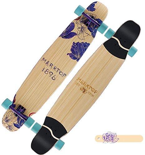 Yughb Bailar Longboard Skateboard City Park Freestyle Scooter Mujeres monopatín con 2 Capas de bambú y 5 Capas de Cubierta de Arce 48 * 9.5 * 6.3in, FlowerPattern, Color: Flowerpattern