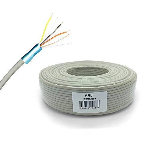 ARLI Telefonkabel 50 m 2 x 2 x 0,6 mm Verlegekabel 2x2 4 Adern JYSTY Telefonleitung Telefon Sprechanlagen klingel Anlagen Kabel Leitung rund Aufputz Unterputz 50 m 2x2x0,6mm