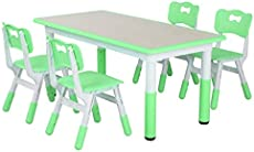 """LAZY BUDDY Kids Study Table and Chairs Set, Height Adjustable Plastic Children Art Desk with 4 Seats, Activity Toddler Furniture Gift for Boys & Girls(Paintable Desktop) (47\\"""" 5 Sets, Green)"""