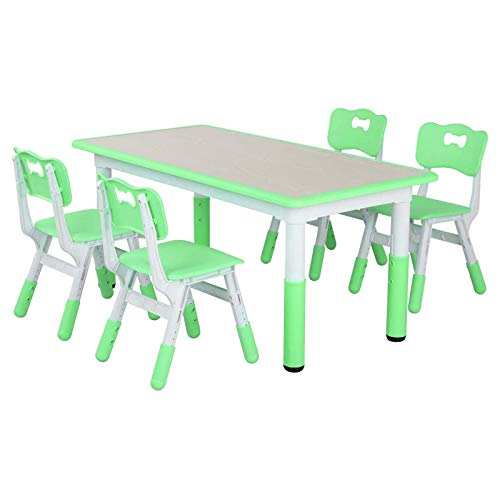 "LAZY BUDDY Kids Study Table and Chairs Set, Height Adjustable Plastic Children Art Desk with 4 Seats, Activity Toddler Furniture Gift for Boys & Girls(Paintable Desktop) (47"" 5 Sets, Green)"