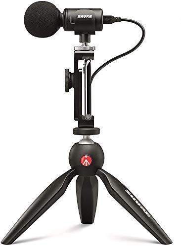 SHURE MV88+ ビデオキット : ステレオコンデンサーマイク配信/クリエイター/ビデオグラファー MOTIVシリーズ iOS対応 MV88+DIG-VIDKIT【国内正規品】 black