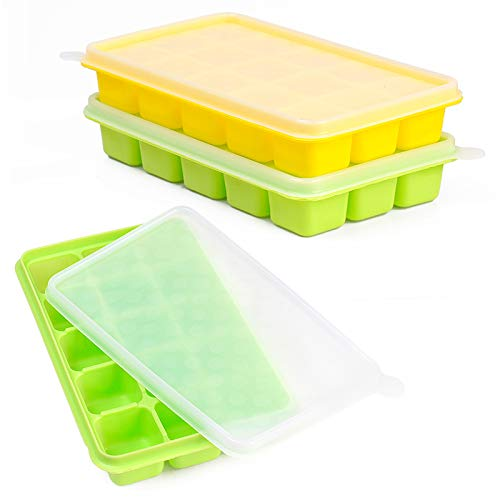 Ice Cube Trays - CASELAND Easy Release 2 Pack Silicone 15 Ice Trays with Spill-Resistant Removable Lid Stackable Durable and Dishwasher Ice Cube Molds BPA Free