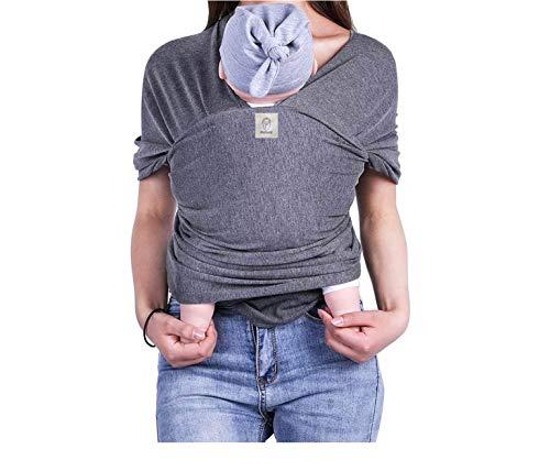 mobebi Babytragetuch für Neugeborene - weiche Baumwolle, Tragetuch Baby elastisch bis 16kg (Grau)