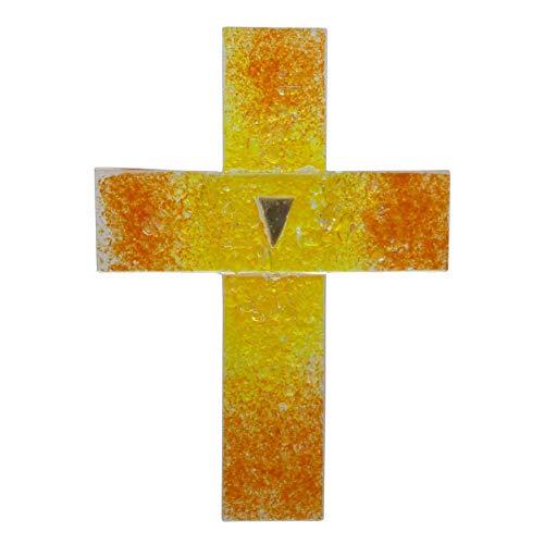 kruzifix24 Kunsthandwerk Cruz de cristal para pared y joyas, color amarillo y...