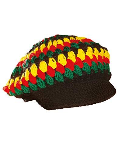 Horror-Shop Rastafari Häkelmütze mit Schirm als Kostümzubehör für Fasching & Kostümparty
