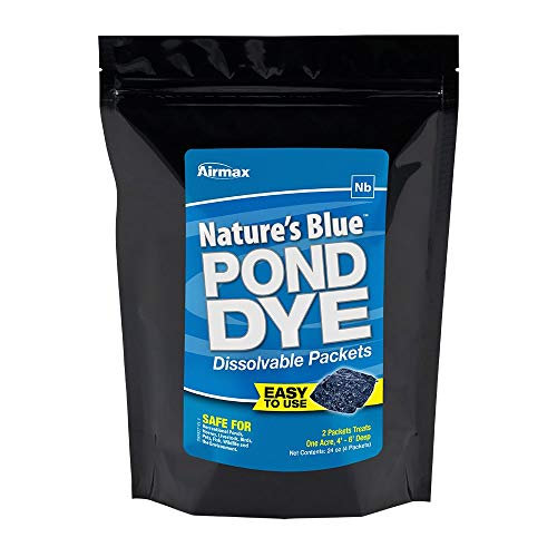 Airmax Nature's Blue Water Soluble Pond Dye Packs (WSP), Easy No Mess Application, for Ponds & Lakes, 4 WSP Pack