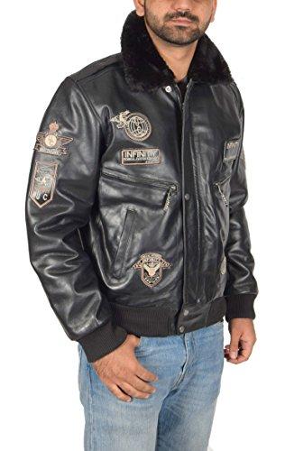 House Of Leather Hombre Cuero Aviador Volador Piloto Bomber Chaqueta de la Fuerza Aérea Estilo Asher Negro