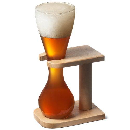 Bicchiere da birra da un quarto -Yard of Ale- con supporto