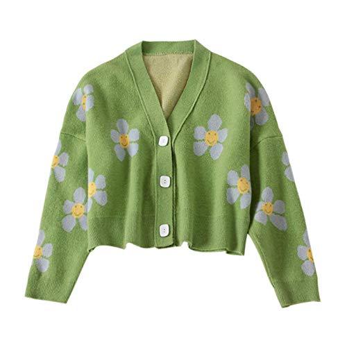 Strickjacke Damen Cardigan Flower Knit Cardigans Sexy Sweater Frauen V-Ausschnitt Loose Thicked Pull Femme Retro Print Kurzer Freizeitmantel Average Size Grün