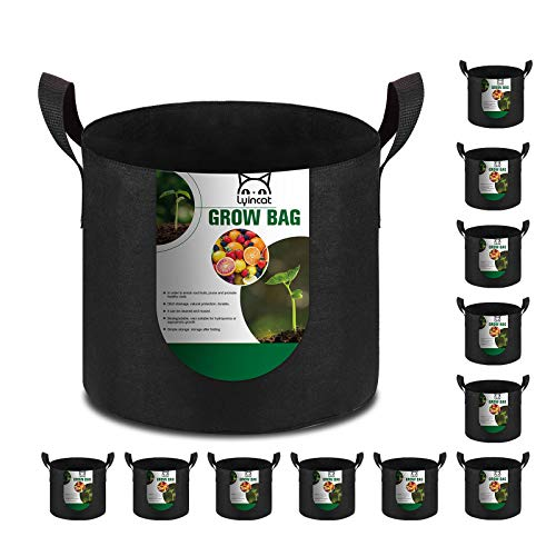 Lyincat 12-Pack 3 Gallon Grow Bags Heavy Duty Thickened Nonwoven...