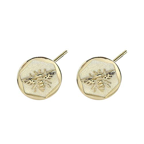 Lotus Fun S925 Sterling Silver Earrings Simple and Stylish Irregular Gold Coins Small Bee Stud Earrings Personality Temperament Jewellery for Women and Girls gold
