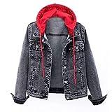 XUNN Chaqueta vaquera para mujer, estilo vintage, con botones, con capucha, estilo normal y cashmere, B-rojo., 5X-Large
