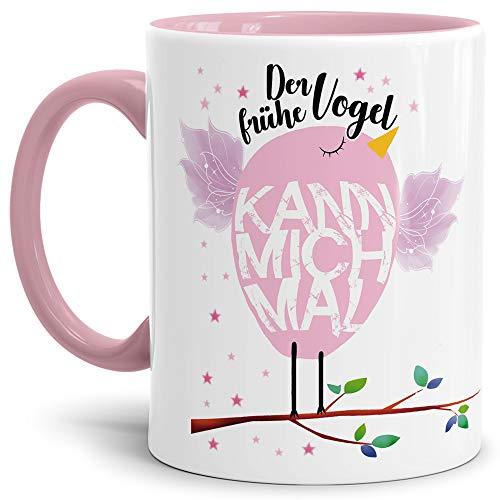 Tasse mit Spruch Der frühe Vogel kann Mich mal Lustig/Arbeit/Büro/Witzig/Geschenkidee für Kollegen/Innen & Henkel Rosa