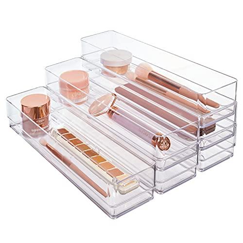 """Clear Plastic Drawer Organizers 12"""" x 3"""" x 2"""" l Set of 6"""