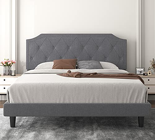 Allewie Queen Bed Frame with Diamond Button Tufted Headboard, Upholstered Platform Bed with Sturdy Wood Slat Support, No Box Spring Needed, Easy Assembly, Light Grey