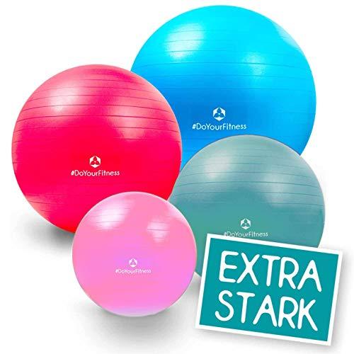 55cm bis 85cm Gymnastikball Büroball Fitnessball Robuster Sitzball Pilatesball/hohe Belastbarkeit / 9X Farben (grün blau rot pink lila Silber schwarz gelb türkis) / inkl. Luftpumpe / 85 cm/rot