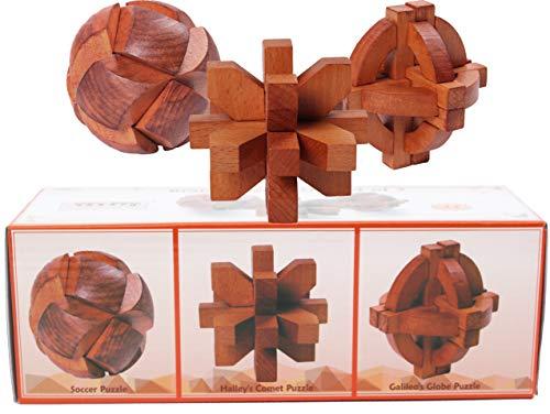 Toys of Wood Oxford TOWO Rompicapo in Legno - Globo di Galileo, Cometa di Halley e Palla da Calcio - Giochi Intelligenti per Bambini, Adulti e Ragazzi - Puzzle rompicapo in Legno - Rompicapo Legno