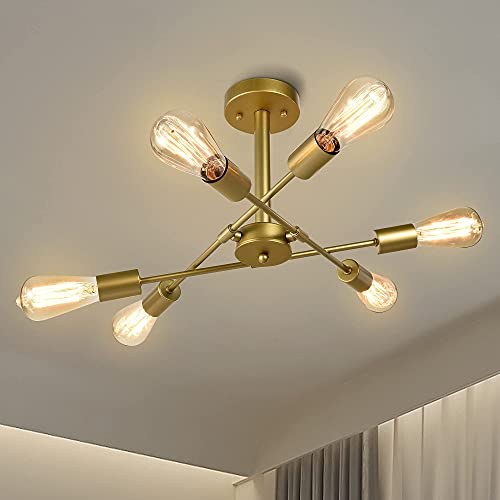 Zicbol Vintage Deckenleuchte Golden Industriell Sputnik Kronleuchter Retro Deckenlampe Kronleuchter Rustikaler Stil für Esszimmer, Wohnzimmer, Küche
