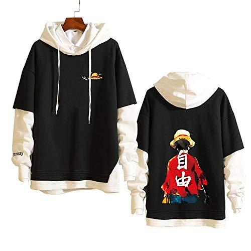 Spricen Hoodie Hommes Femmes Anime One Piece Sweat À Capuche High School Costume Pull Pullover Sweat-Shirt Ado Manteau Veste XS