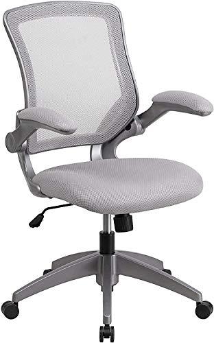 Flash Furniture Mid-Back Gray Mesh Swivel Ergonomic Task ...