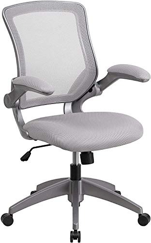 Flash Furniture Mid-Back Gray Mesh Swivel Ergonomic Task Office Chair with Gray Frame and Flip-Up Arms