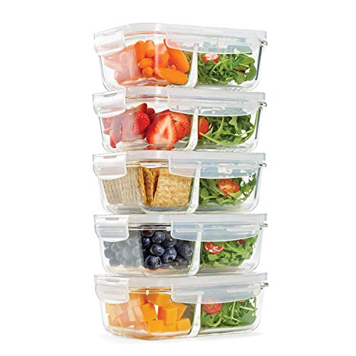 Fit & Fresh Recipientes de vidrio dividido, paquete de 5, dos compartimentos, juego de 5 recipientes con tapa de bloqueo, almacenamiento de vidrio, contenedores de preparación de...