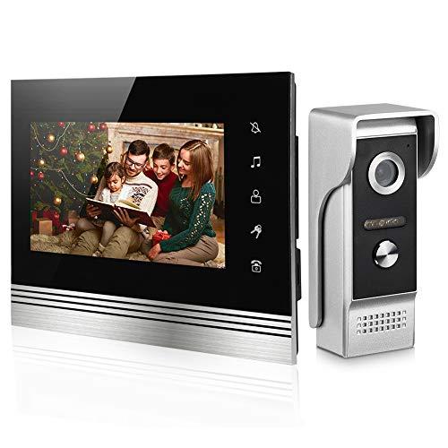Video Türklingel mit Kamera,Türsprechanlage Intercom System mit 7 Zoll Metall Material Monitor, 4-Draht Technik,Türöffner Fernbedienung, Nachtsicht, 25Klingeltöne