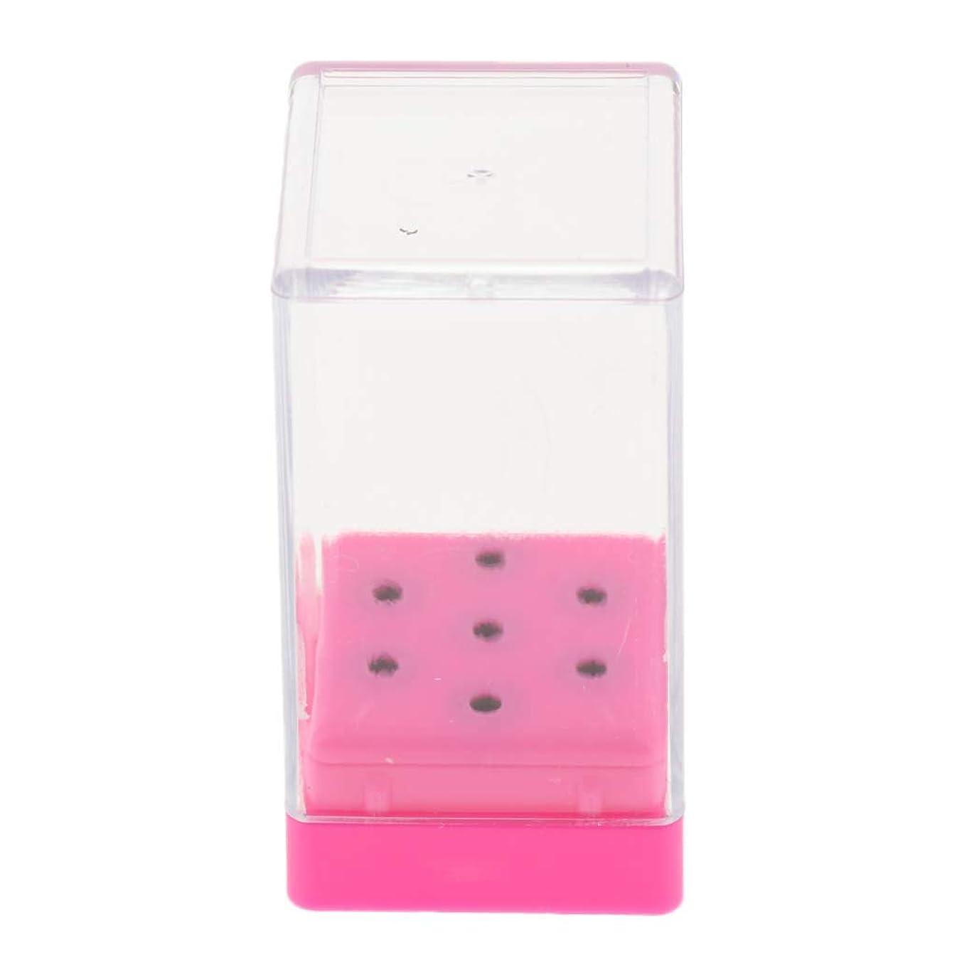休暇僕の引き算Hellery ネイルドリルビット ホルダーディスプレイ カバー付き立て 収納ボックス ABS素材 全3色 - 粉