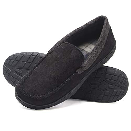 Hanes Men's Moccasin Slipper House Shoe with Indoor Outdoor Memory Foam Sole Fresh Iq Odor Protection, Black, 2X-Large