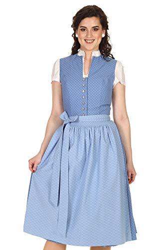 Turi Landhausmode Damen Dirndl Midi hochgeschlossen Baumwolle D211062 Celia 70cm blau Gr.34