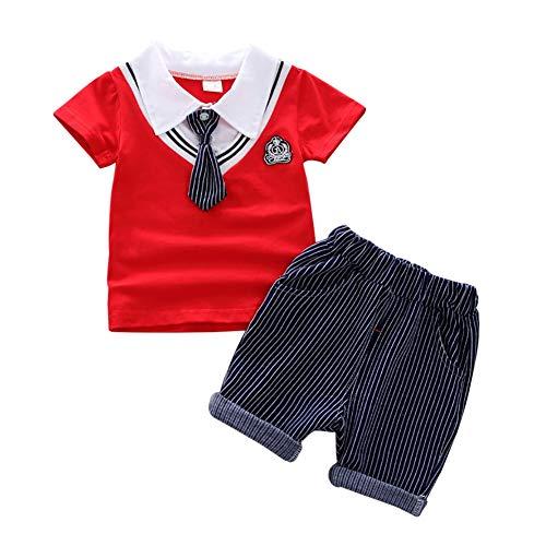 Shiningbaby Baby Boy Sommerkleidung Set Krawatte Poloshirt Top und Shorts 2 Stück Outfit für Alter 1 2 3 4 Jahre alt