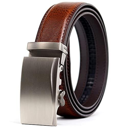 SZBLYY Cinturón Hombre Cinturón de Hombre marrón 3,5 cm Ancho Cintura Correa de Cintura Masculina aleación Auto Hebilla Negocio Estilos Formales (Belt Length : 115CM, Color : Brown)