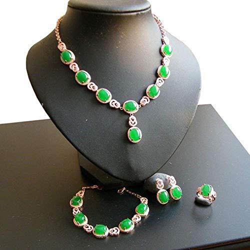 JLXQL Ornaments Sculpture Natural Jade Grandmother Green Jade Necklace Wedding Gift 4-piece Set Jewelry
