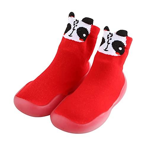 Zapatos para bebé de 6 a 12 meses, zapatos para aprender a andar, para niñas, zapatos de punto, calcetines de suelo blandos, calcetines de suelo, dibujos animados, antideslizantes., rojo, 24