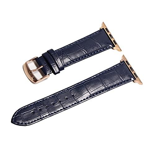 HANRUO Accesorios para relojes de diseño, correas de 42 mm, correa de 38 mm (color de la correa: oro rosa azul oscuro, ancho de la correa: 40 mm)