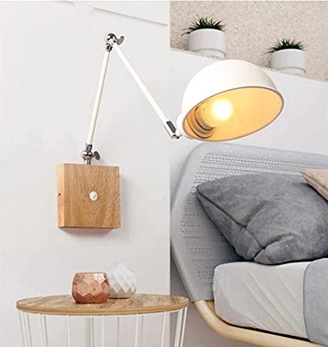 Apliques de pared con interruptor LED Interior Madera Vintage Metal Lámpara de pared Iluminación E27 Pantalla Enchufe de enfoque ajustable Dormitorio Techo Café Bar Restaurante (Co