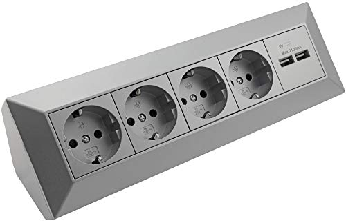 Ecksteckdose Küchensteckdose mit USB Doppelsteckdose 4x Steckdosen 2x USB I 90° Winkel I 230V Aufbau & Eck-Montage für Arbeitsplatte Küche I Silber Grau