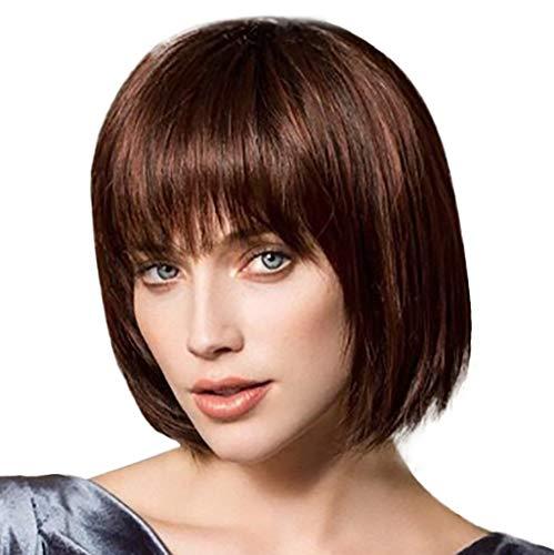 Amphia - Mode synthetische Kurze gerade boobo braune gerade Perücke für Frauen Neue über th - Länge: ca. 25 cm